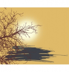 background with sun and branch vector image vector image