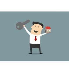 Businessman with a key and house vector image
