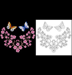 embroidery butterfly and flowers vector image