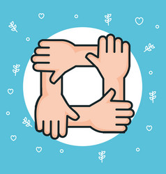 hands symbol peace unity community vector image
