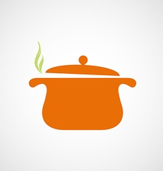 Logo of the pan with steam vector image