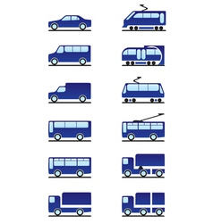 Road and railways transportations icons set vector image