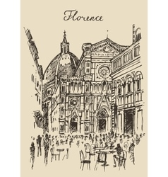 Streets Florence Italy Trevi Fountain Hand Drawn vector image vector image