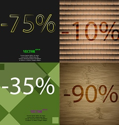 10 35 90 icon Set of percent discount on abstract vector image