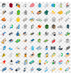 100 organization icons set isometric 3d style vector