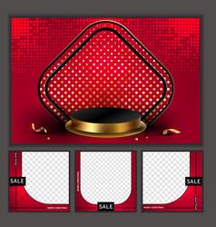 3d minimal luxury podium golden in front red vector