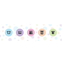 5 withdraw icons vector