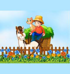 a farmer riding horse cart vector image