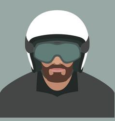 A man in a moto helmet flat vector