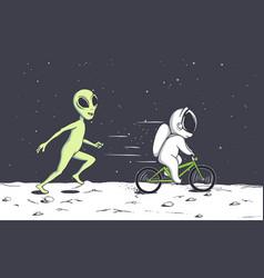 alien plays with astronaut vector image