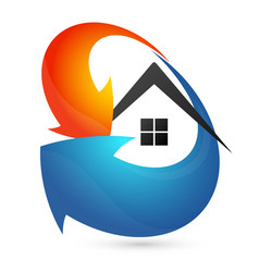 Arrow blue and red air conditioner for home vector