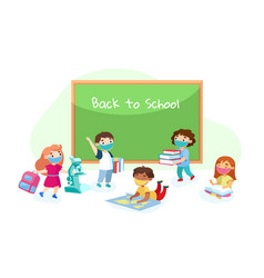 Back to school education during coronavirus vector