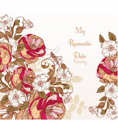 background with hand rose flowers vector image