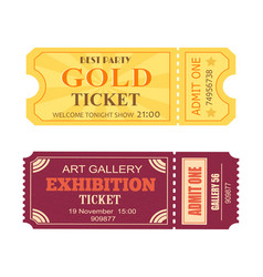 Best party gold ticket art gallery exhibition icon vector
