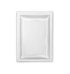 Blank retort foil packaging mock up on white vector