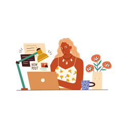 blogger working with laptop creating content vector image