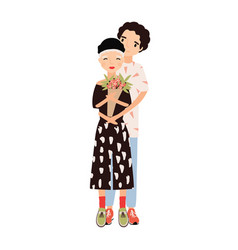 boy hugging girl holding bouquet cute romantic vector image