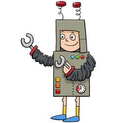boy in robot costume at halloween party cartoon vector image