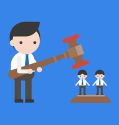 Businessman holding hammer other coworkers vector