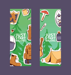 camping equipment banner poster flyer vector image