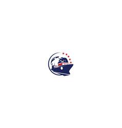 cargo logo ship icon vector image