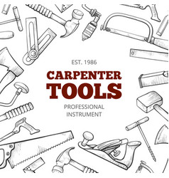 Carpenter hand tools and professional instruments vector