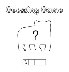 Cartoon bear guessing game vector