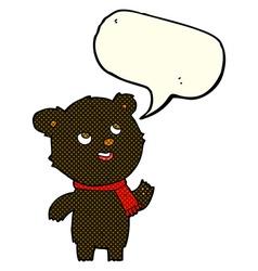 cartoon black bear wearing scarf with speech vector image