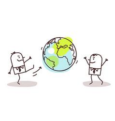 Cartoon businessmen kicking earth vector