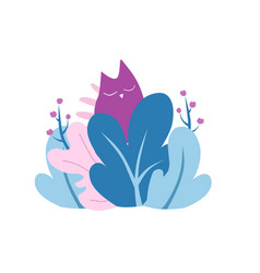 Cat in the bushes sleeping peacefully abstract vector