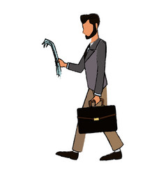 Character business man with suit walk with paper vector