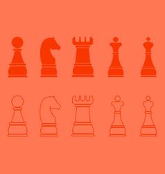Chess icons outline pieces vector