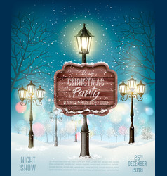 christmas party design template with evening vector image