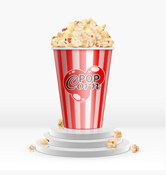 cinema food popcorn in disposable bowl on pedestal vector image
