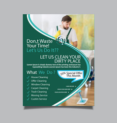 cleaning services flyer template design vector image