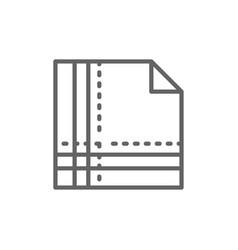 Cloth napkin folded in square line icon vector