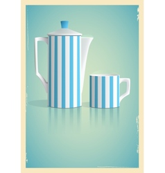 Coffee pot and cup in retro style vector image