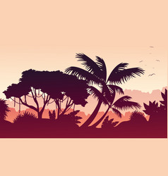 Collection of forest landscape silhouettes vector