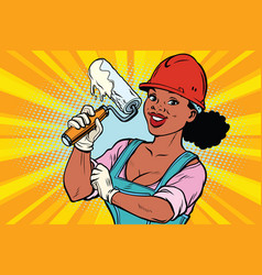 Construction worker with roller for paint woman vector