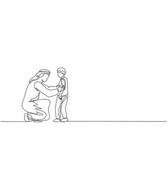 Continuous one line drawing young arabian dad vector