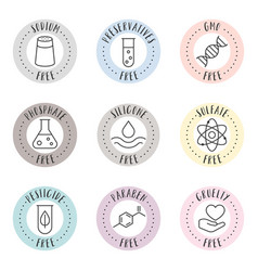 Cosmetic and pharmaceutical badges vector