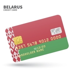 Credit card with Belarus flag background for bank vector