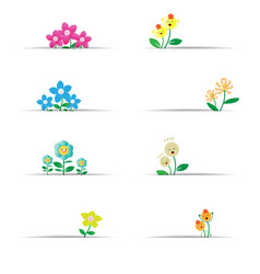 Cute flowers with white paper vector