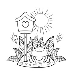 cute toad in the landscape with birdhouse vector image