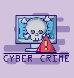 Cyber crime cartoons concept vector