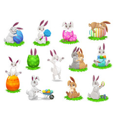 Easter cartoon rabbits with painted eggs vector