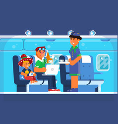 family happy on airplane vacations holiday vector image