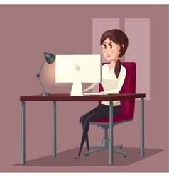 Female or woman at computer in room home vector image