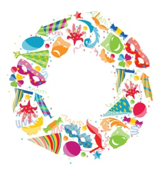 Festive round frame with carnival colorful objects vector