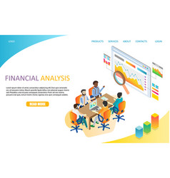 financial analysis landing page website vector image